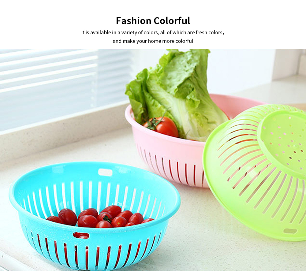 Hollow Drain Washing Basket, Round Plastic Basket Kitchen Sink Fruit Basket, Vegetable and Fruit Drain Basket Storage Basket 2