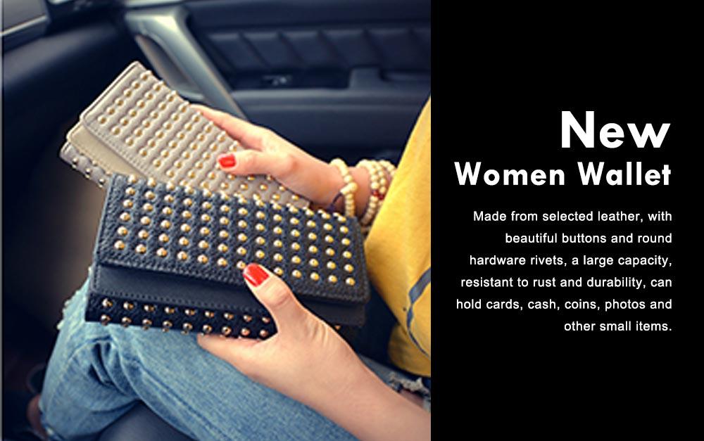 Long Double Cover Clutch, New Fashion Women wallet,European and American Pop Pun Style Rivet Handbag 0
