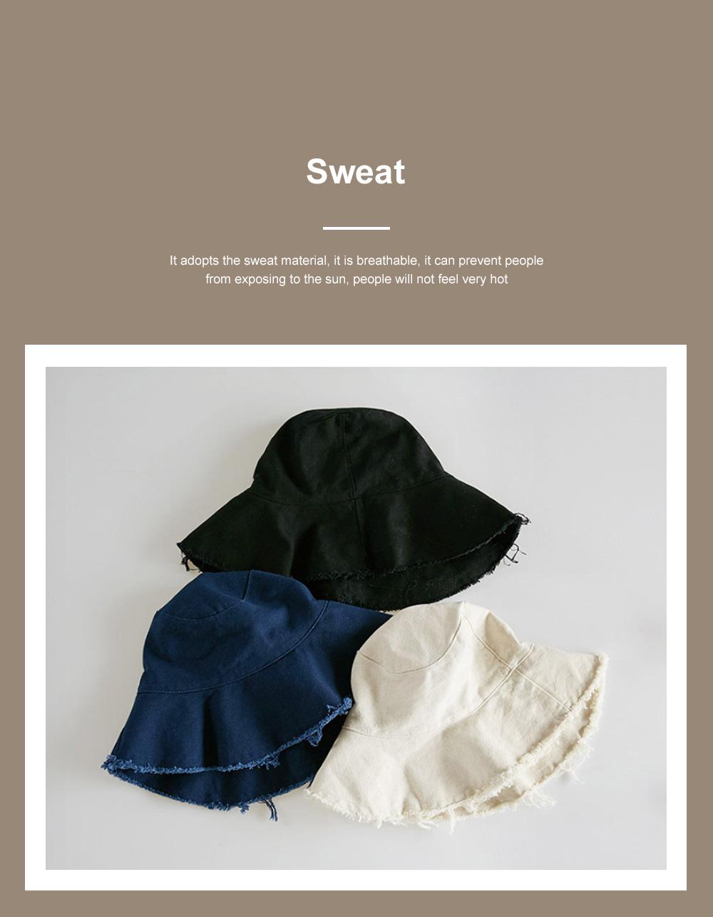 Popular Fashion Edging Fisherman Hat Female Washed Denim Sun Hat Solid Color Fisherman Hat, Japanese Hair Cowboy Visor Korean Wash Cloth Cap 4