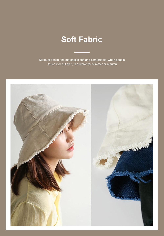 Popular Fashion Edging Fisherman Hat Female Washed Denim Sun Hat Solid Color Fisherman Hat, Japanese Hair Cowboy Visor Korean Wash Cloth Cap 2