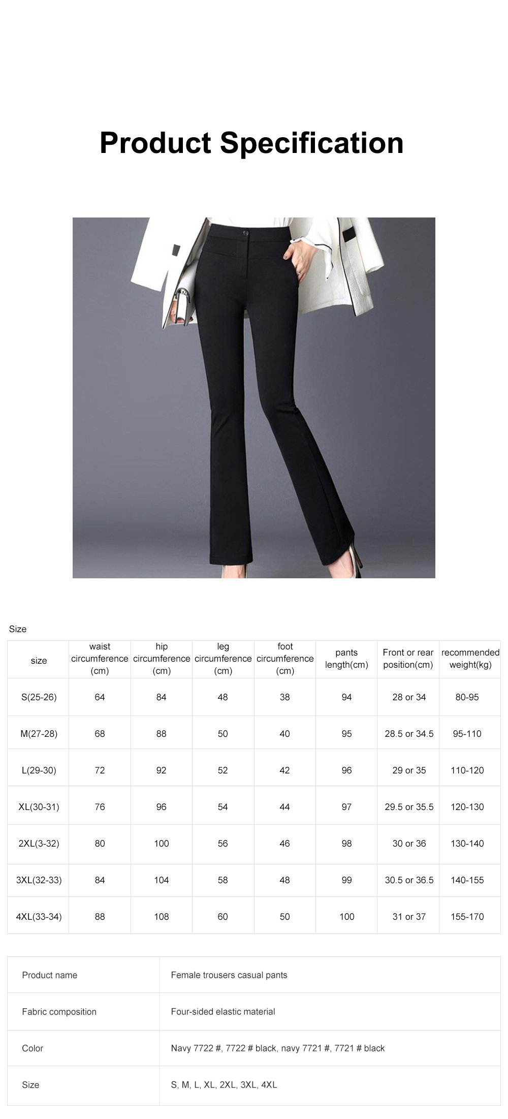 Plus Size Pants Female Casual Long Pants Ladies Office Trousers High Waist Slimming Black Straight Customized Stretch Big Size Slacks 6