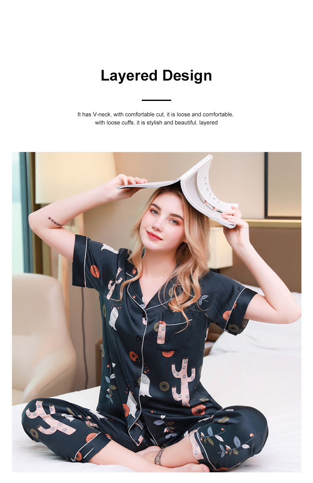 Summer New Ladies Silky Satin Women Flower Print Set Leisure And Comfortable Short-sleeved Trousers Flower Home Service 3