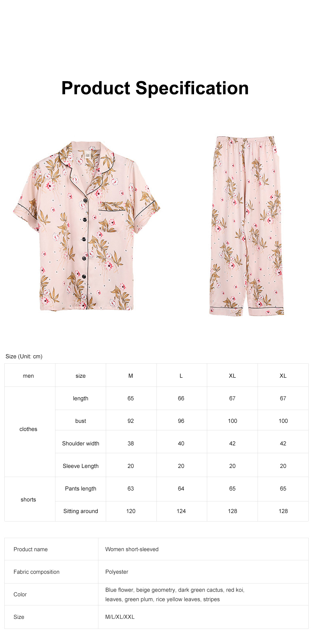 Summer New Ladies Silky Satin Women Flower Print Set Leisure And Comfortable Short-sleeved Trousers Flower Home Service 6