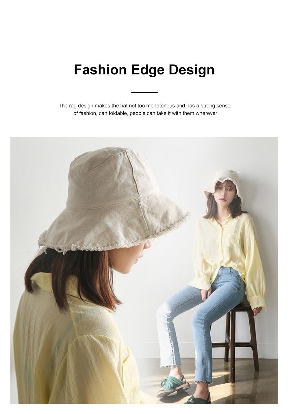Popular Fashion Edging Fisherman Hat Female Washed Denim Sun Hat Solid Color Fisherman Hat, Japanese Hair Cowboy Visor Korean Wash Cloth Cap 1