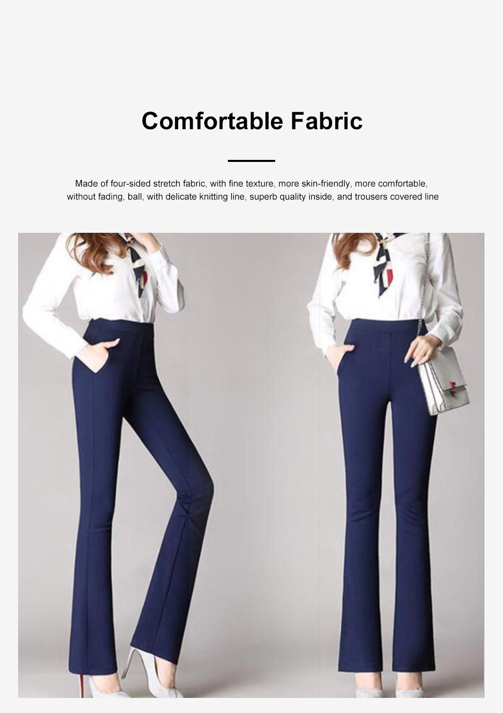 Plus Size Pants Female Casual Long Pants Ladies Office Trousers High Waist Slimming Black Straight Customized Stretch Big Size Slacks 5