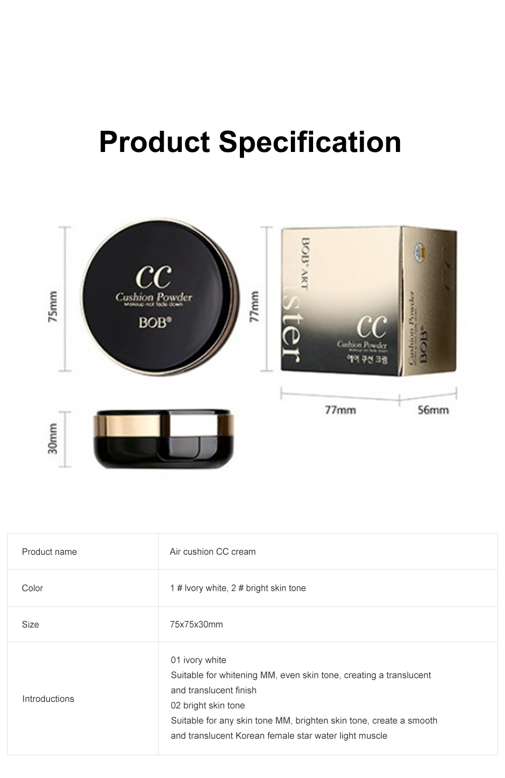 Skin Rejuvenating Air Cushion Daily Color Correcting CC Cream Send Replacement Waterproof Moisturizing Concealer Nude Makeup Cream 8