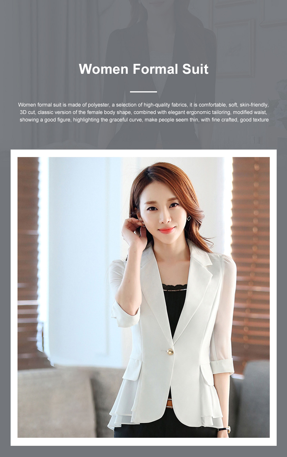 2019 Women New Design Fashion Formal Suit for Office Lady Work Wear Suit Seven-point Sleeves Ruffled Chiffon Women's Jacket Short Paragraph Slim 0