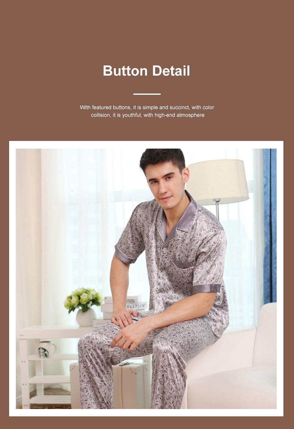 Autumn Short Sleeve Pants Ice Silk Lapel Pajamas Summer Lattice Thin Pajamas Men's Large Size Loose Home Set 4