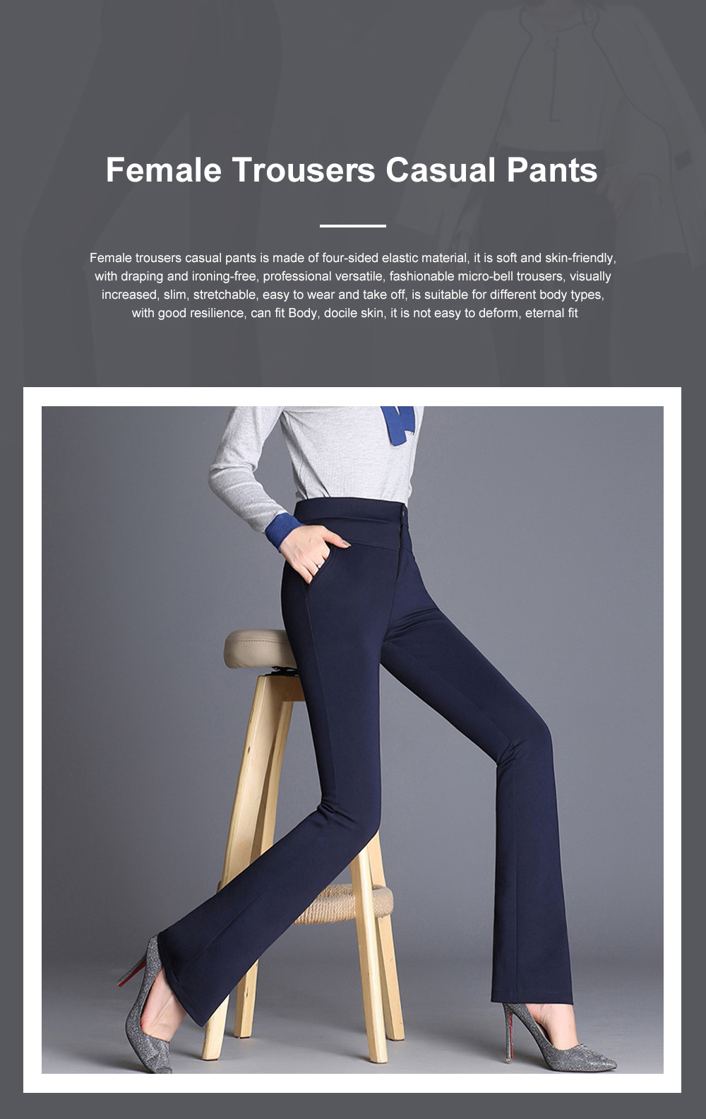Plus Size Pants Female Casual Long Pants Ladies Office Trousers High Waist Slimming Black Straight Customized Stretch Big Size Slacks 0