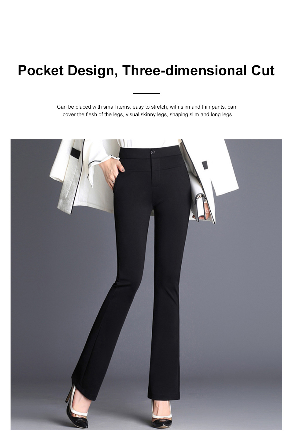 Plus Size Pants Female Casual Long Pants Ladies Office Trousers High Waist Slimming Black Straight Customized Stretch Big Size Slacks 1