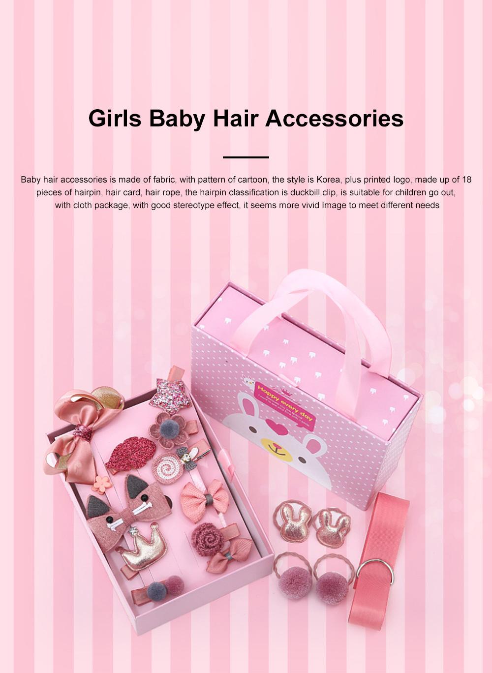 18 Pieces Set Children Korean Girls Cute Baby Hair Clip Girl Head Wear Princess Hair Card Baby Hair Accessories 0