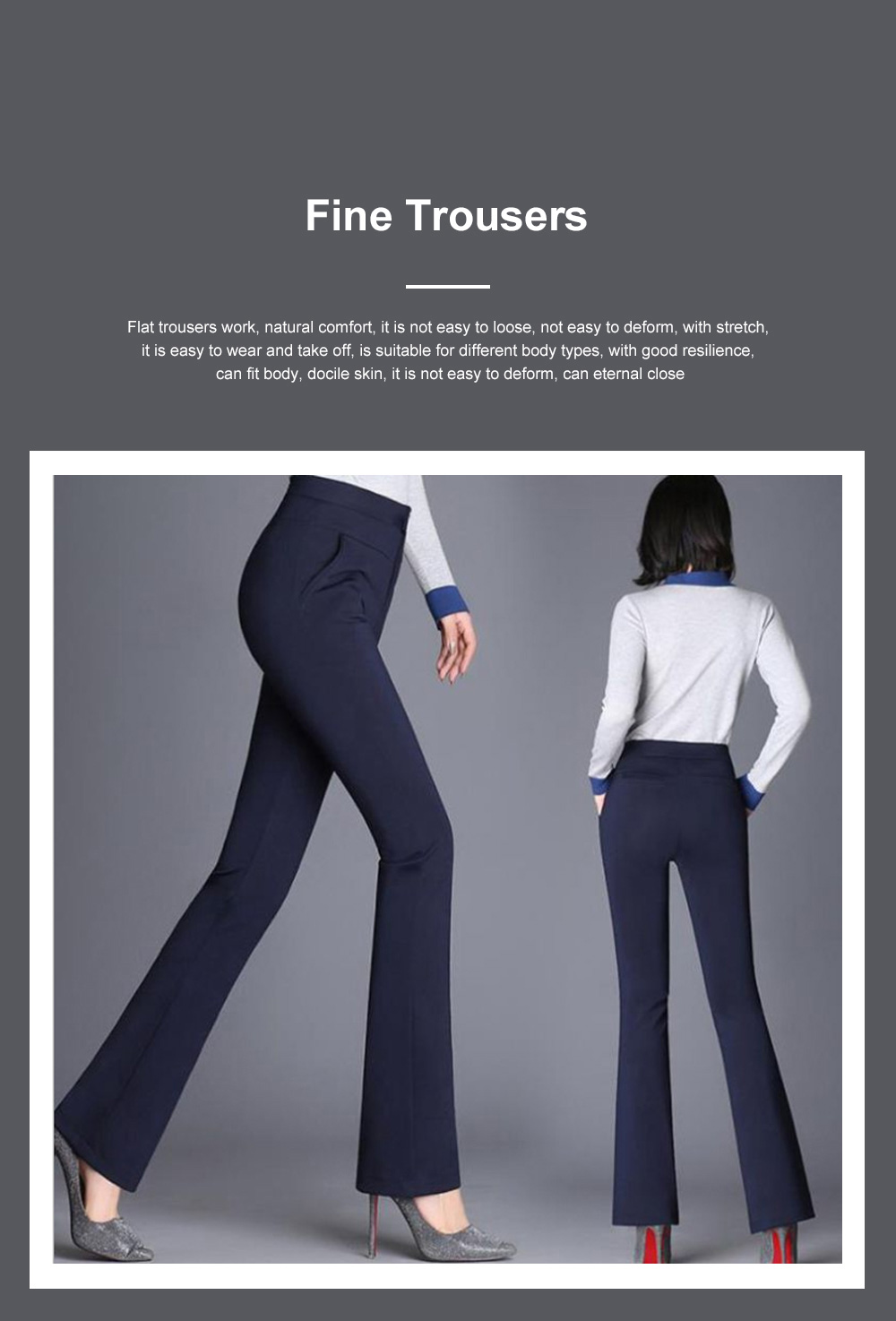 Plus Size Pants Female Casual Long Pants Ladies Office Trousers High Waist Slimming Black Straight Customized Stretch Big Size Slacks 2