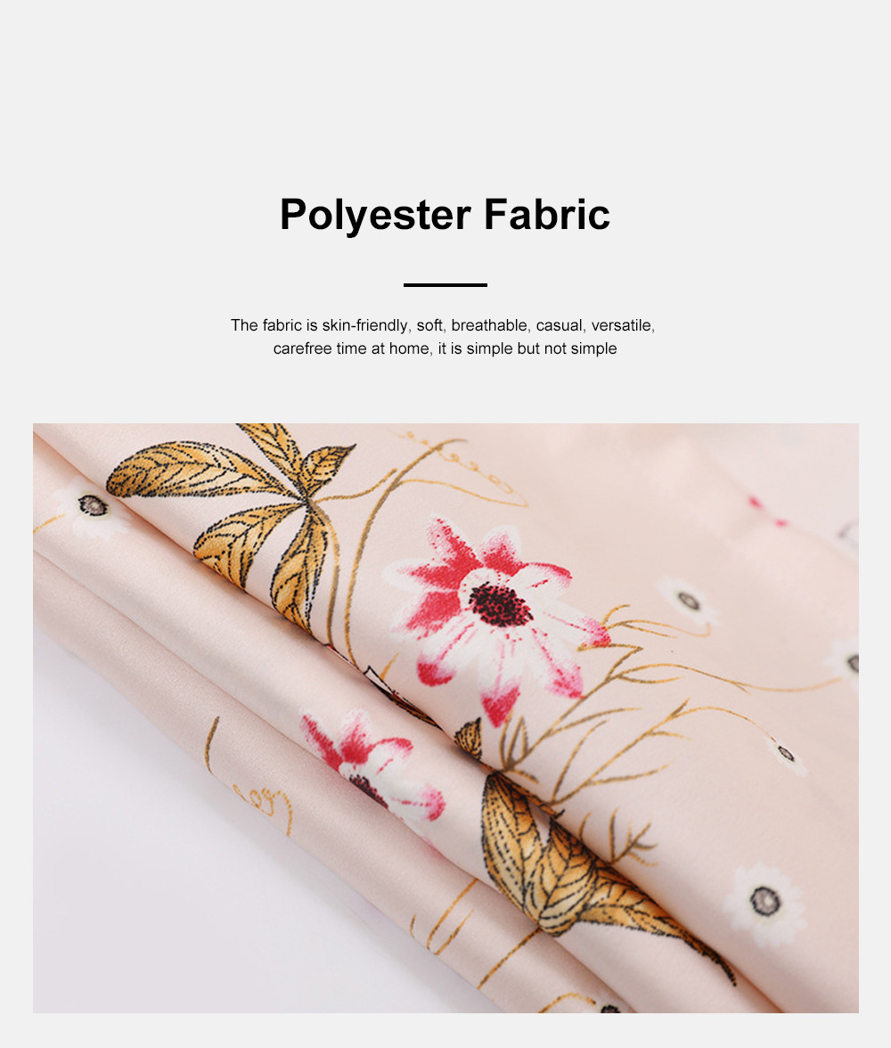 Summer New Ladies Silky Satin Women Flower Print Set Leisure And Comfortable Short-sleeved Trousers Flower Home Service 5