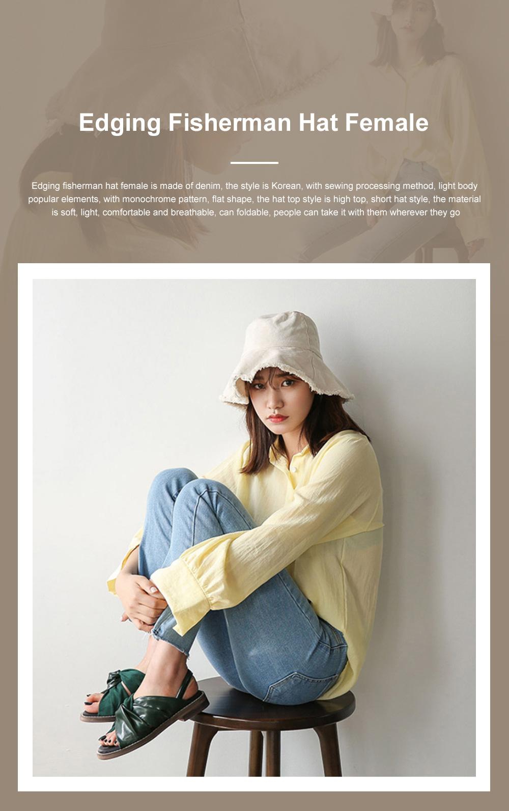 Popular Fashion Edging Fisherman Hat Female Washed Denim Sun Hat Solid Color Fisherman Hat, Japanese Hair Cowboy Visor Korean Wash Cloth Cap 0