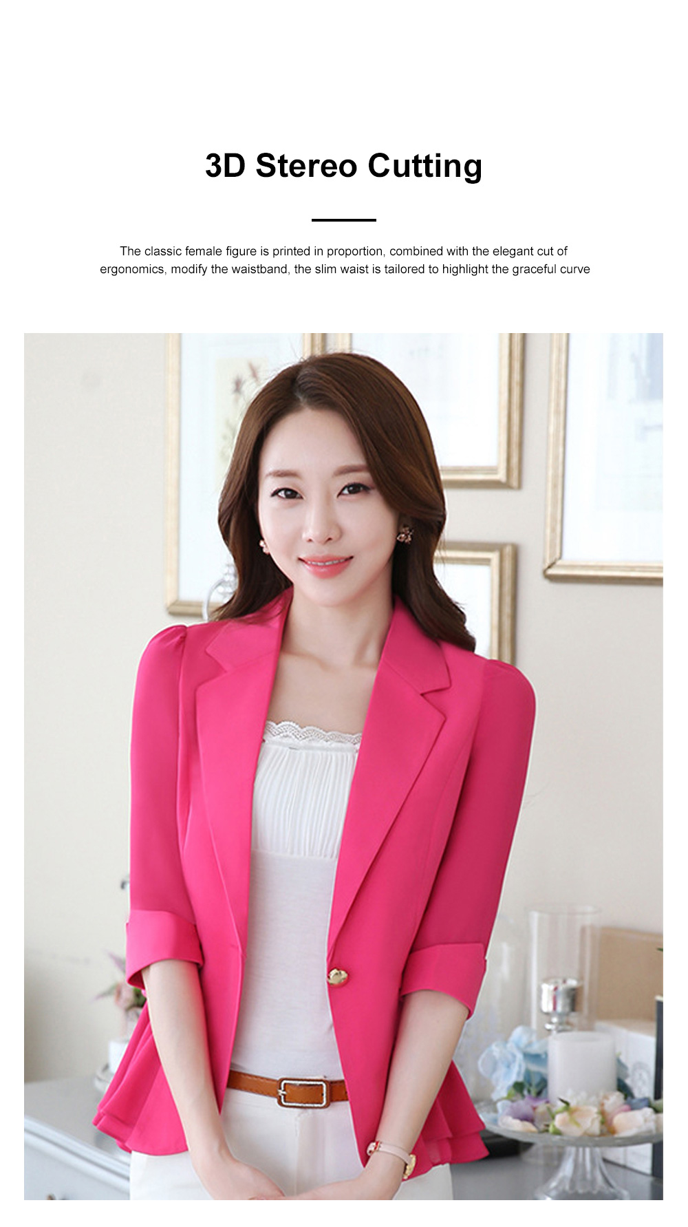 2019 Women New Design Fashion Formal Suit for Office Lady Work Wear Suit Seven-point Sleeves Ruffled Chiffon Women's Jacket Short Paragraph Slim 3