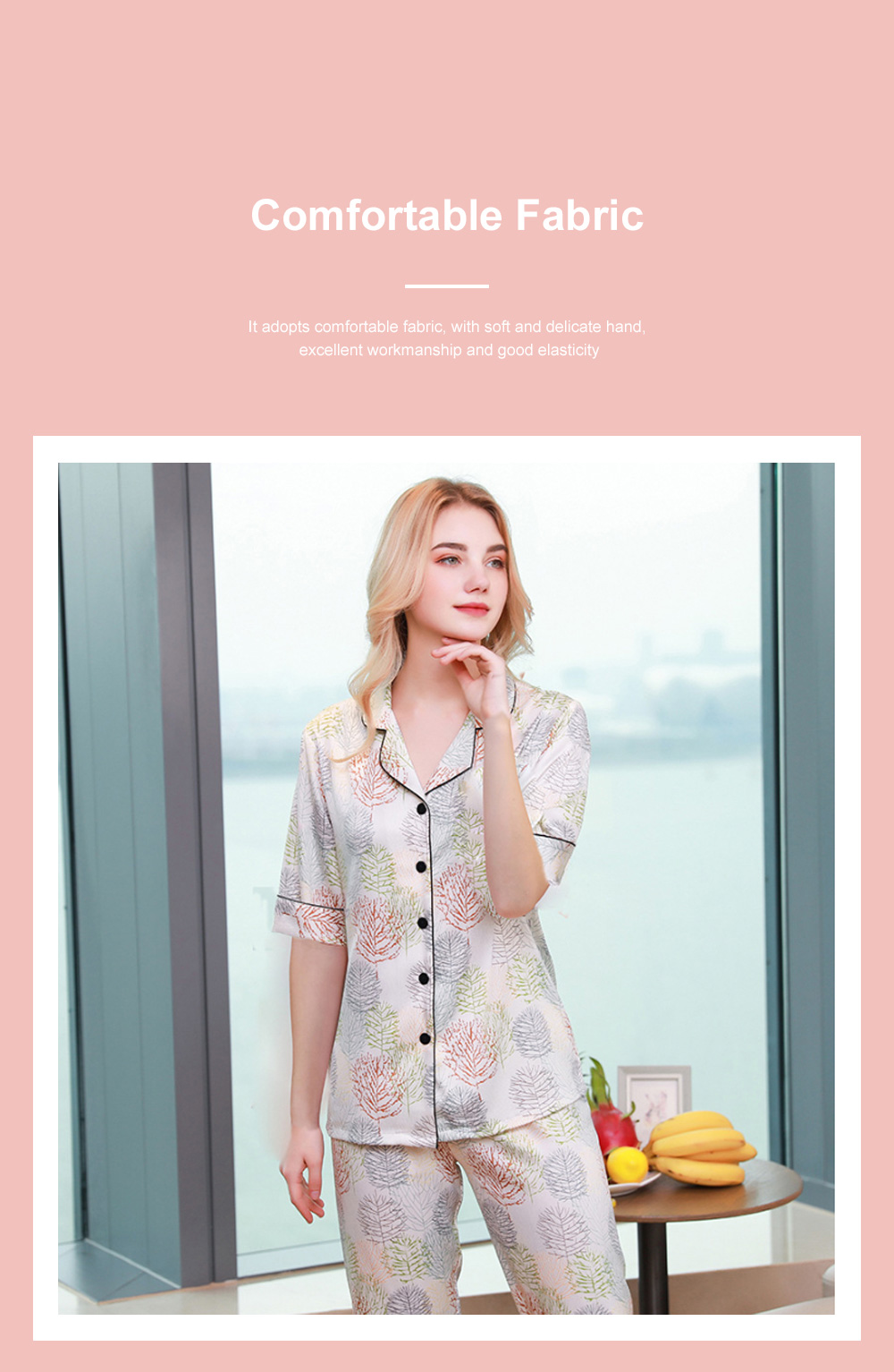 Summer New Ladies Silky Satin Women Flower Print Set Leisure And Comfortable Short-sleeved Trousers Flower Home Service 2
