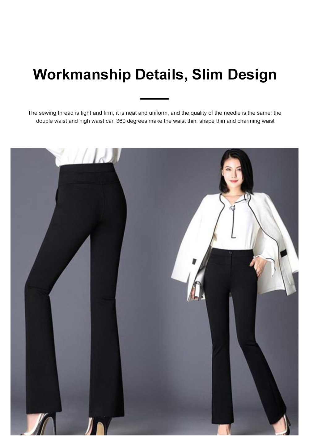 Plus Size Pants Female Casual Long Pants Ladies Office Trousers High Waist Slimming Black Straight Customized Stretch Big Size Slacks 3