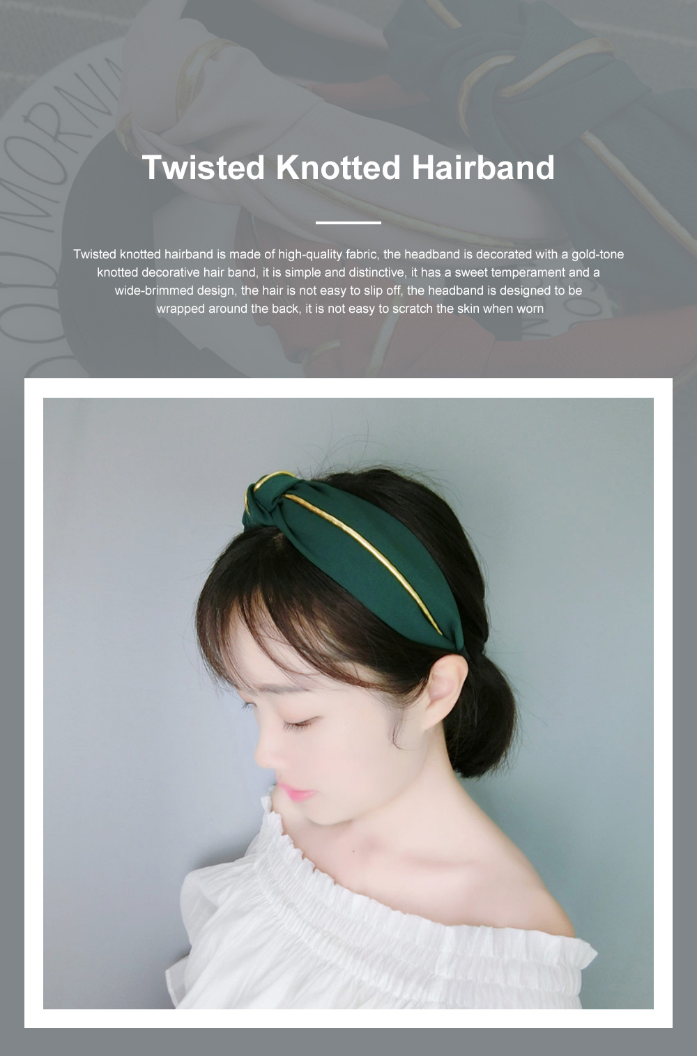 New Design Colorful Elastic Head Wrap Women Headband Twisted Knotted Hairband For Women, Fabric Wide Side Headband 0