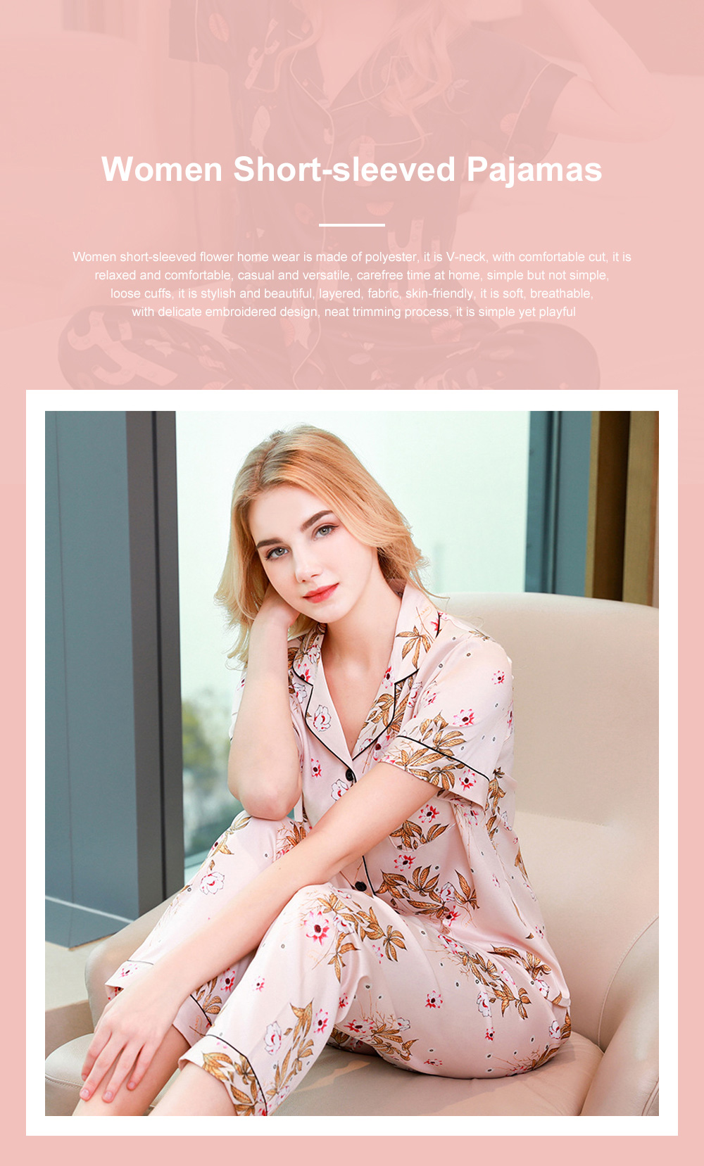 Summer New Ladies Silky Satin Women Flower Print Set Leisure And Comfortable Short-sleeved Trousers Flower Home Service 0