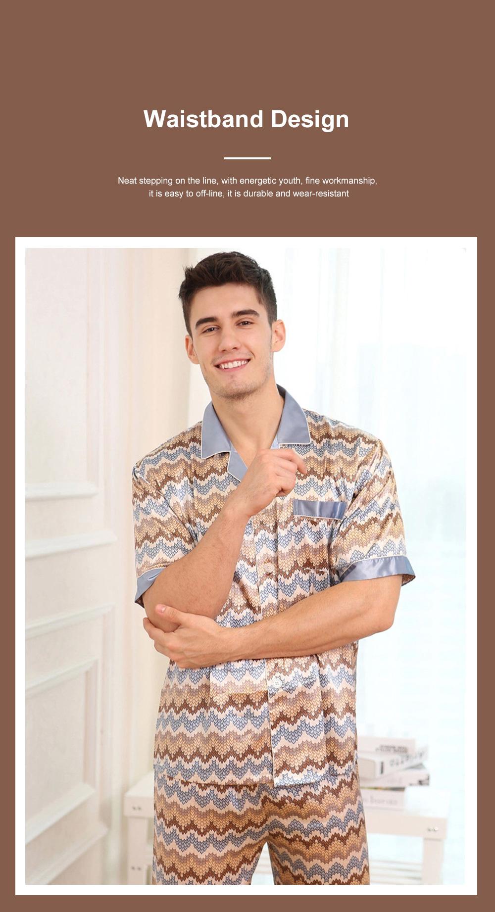 Autumn Short Sleeve Pants Ice Silk Lapel Pajamas Summer Lattice Thin Pajamas Men's Large Size Loose Home Set 2