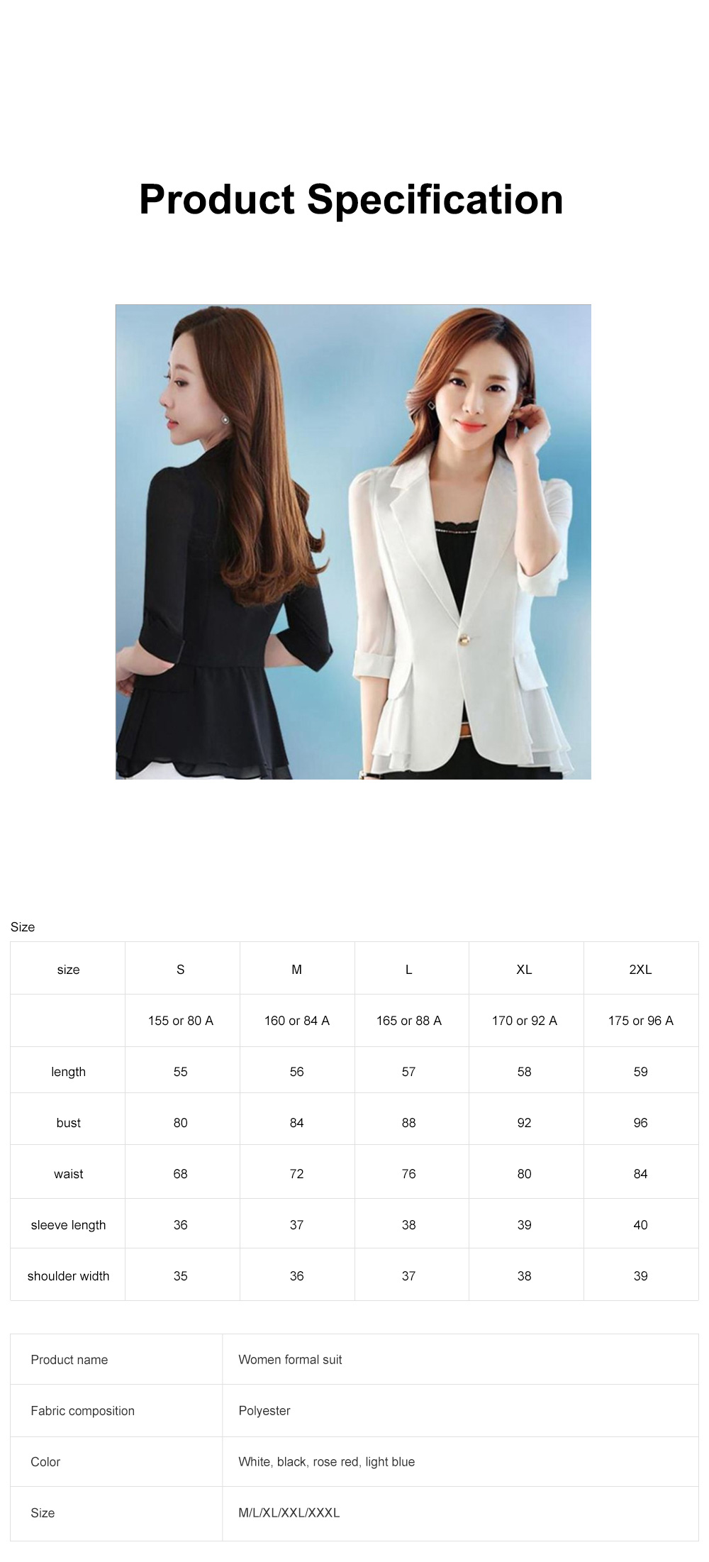2019 Women New Design Fashion Formal Suit for Office Lady Work Wear Suit Seven-point Sleeves Ruffled Chiffon Women's Jacket Short Paragraph Slim 6