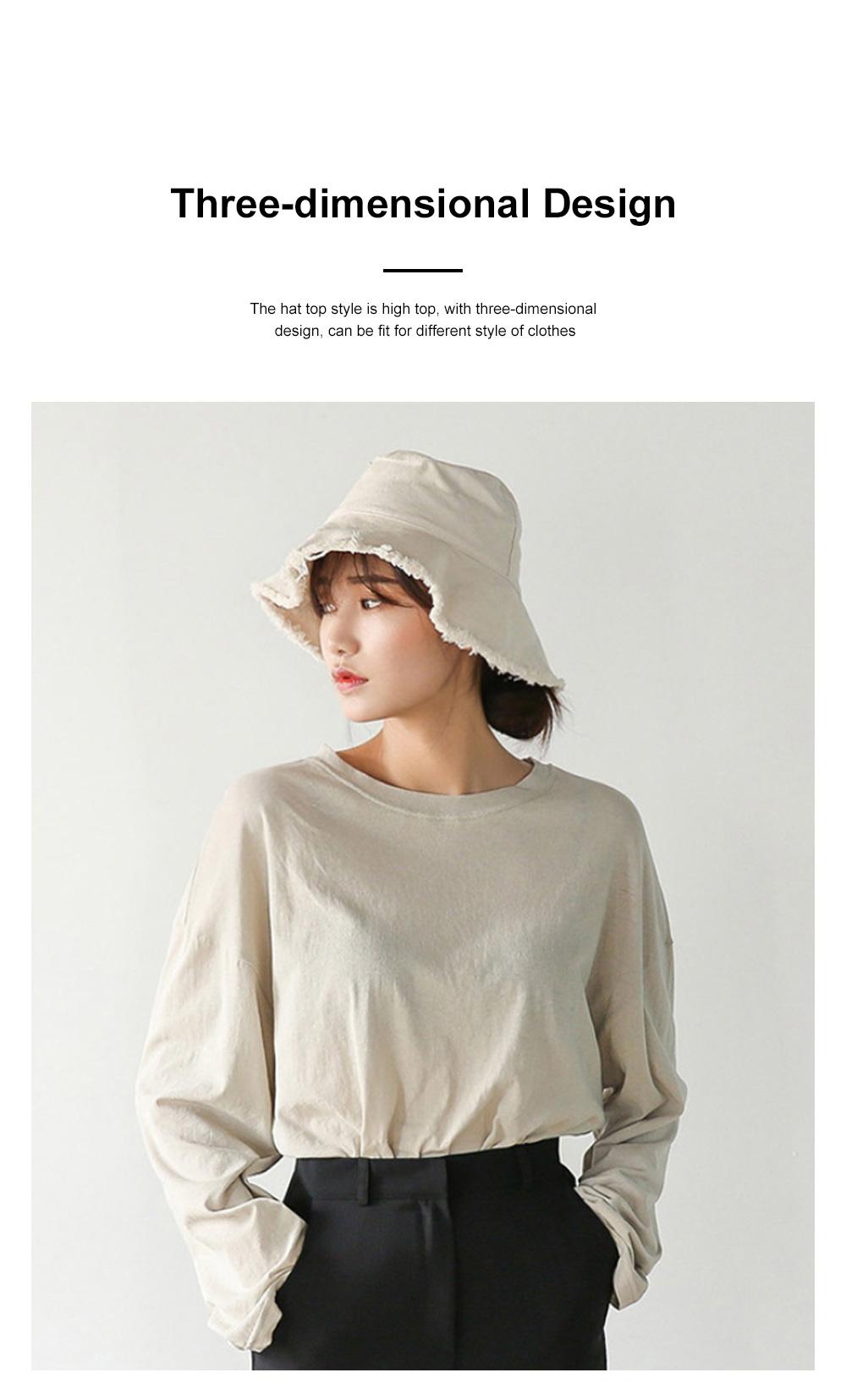 Popular Fashion Edging Fisherman Hat Female Washed Denim Sun Hat Solid Color Fisherman Hat, Japanese Hair Cowboy Visor Korean Wash Cloth Cap 3