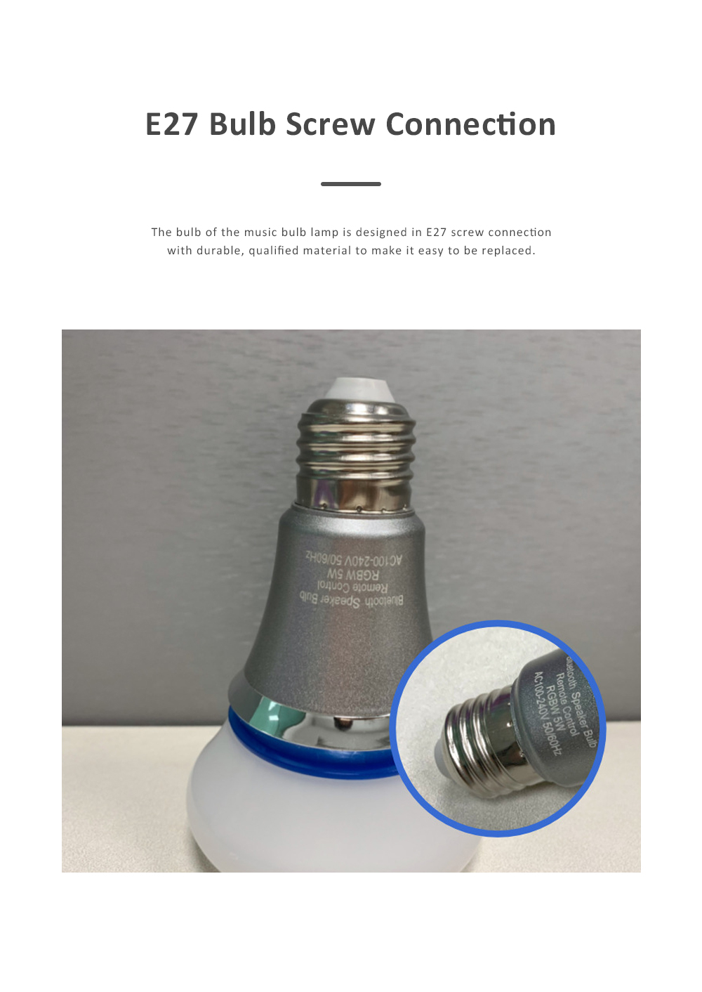 Bluetooth Music Bulb Lamp for Bedroom Coffee Café Intelligent Color Shifting Music Lamp with E27 Bulb Bluetooth Remote Control Music Lamp 3
