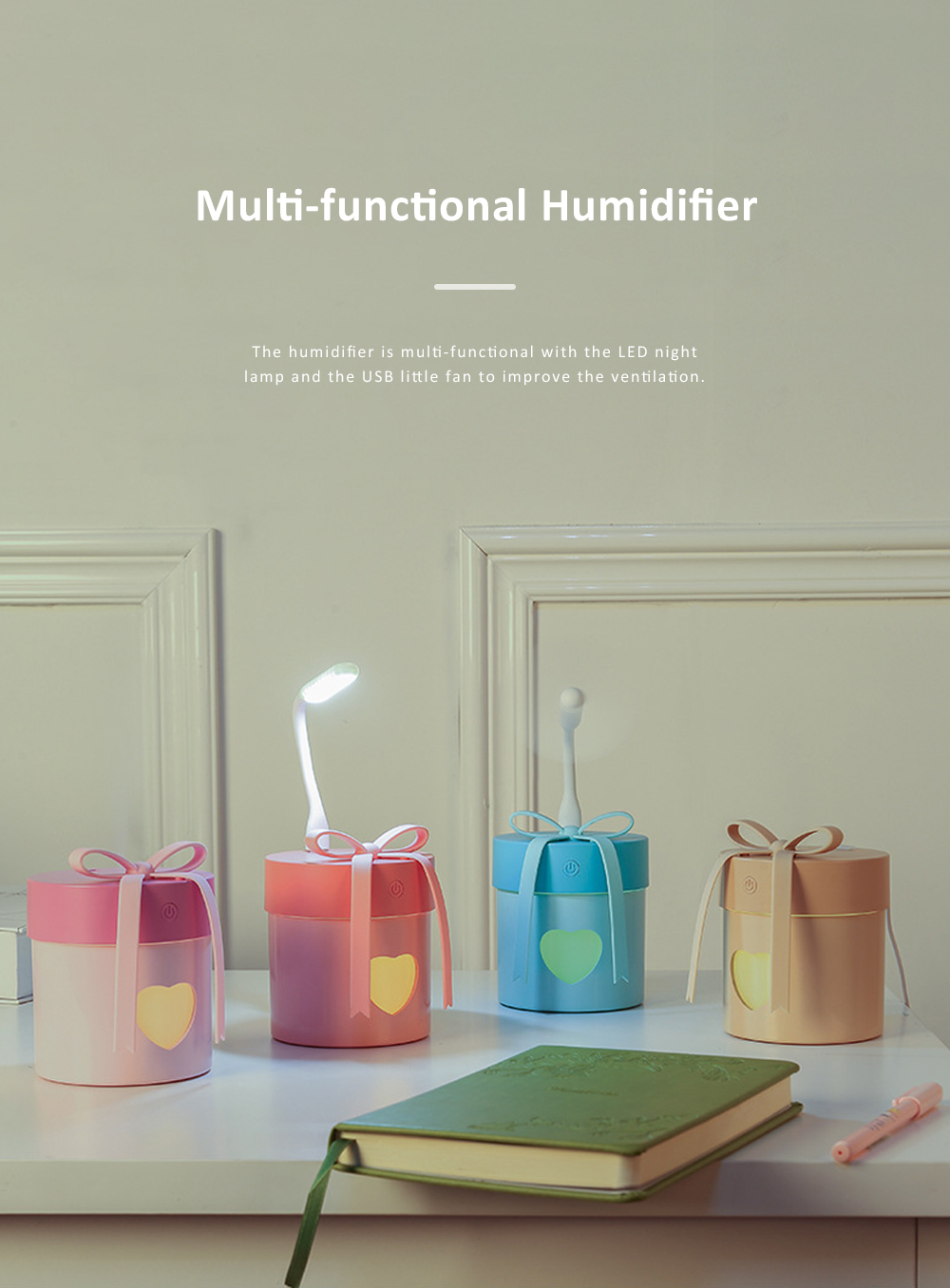 Multi-functional Portable Mini Air Humidifier Domestic Desk Moisturizer with Fan LED Night Lamp 2