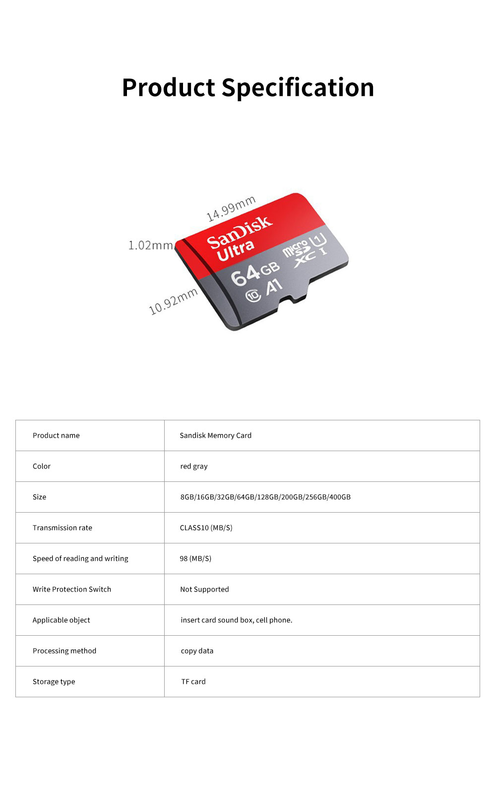 Sandisk Memory Card 400G 256G 200G 128G 64G 32G 16G 8G 98m/s High Speed TF Card C10 Security Recorder SD Storage Card 6