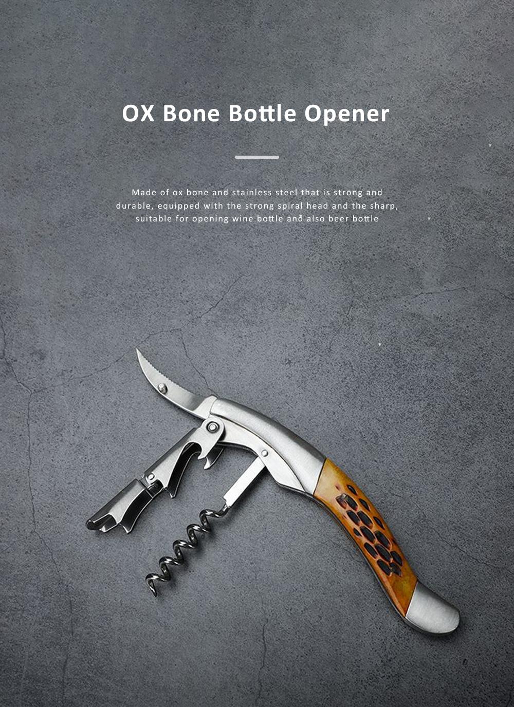 OX Bone Bottle Opener Stainless Steel Thickened Wine Bottle Opener with Little Knife 0