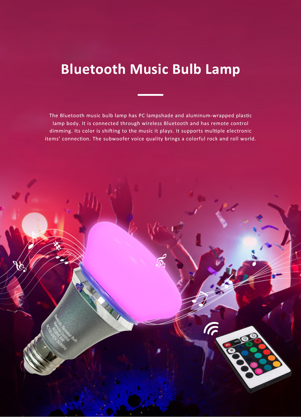 Bluetooth Music Bulb Lamp for Bedroom Coffee Café Intelligent Color Shifting Music Lamp with E27 Bulb Bluetooth Remote Control Music Lamp 0
