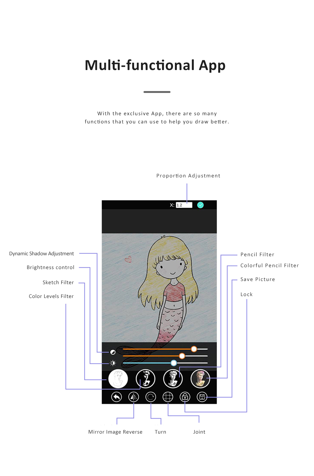 Optical Image Drawing Tool Set for Beginners Optical Copying Facsimile Imitation Glass Mirror with APP Support 3