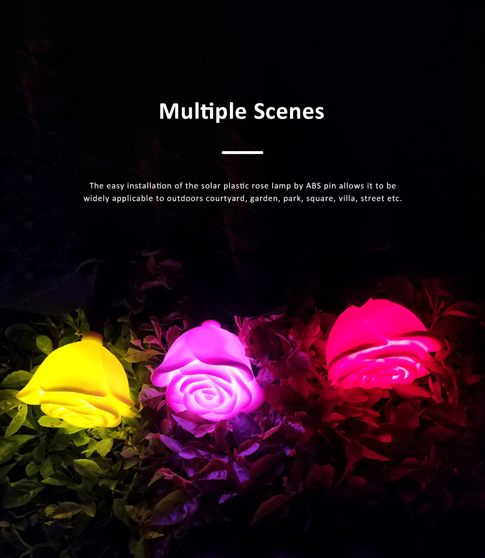 LED Solar Landscape Light for Outdoors Courtyard Gardens Waterproof Plastic Rose Flower Pattern Lamps Solar Rose Pin Lamp 5