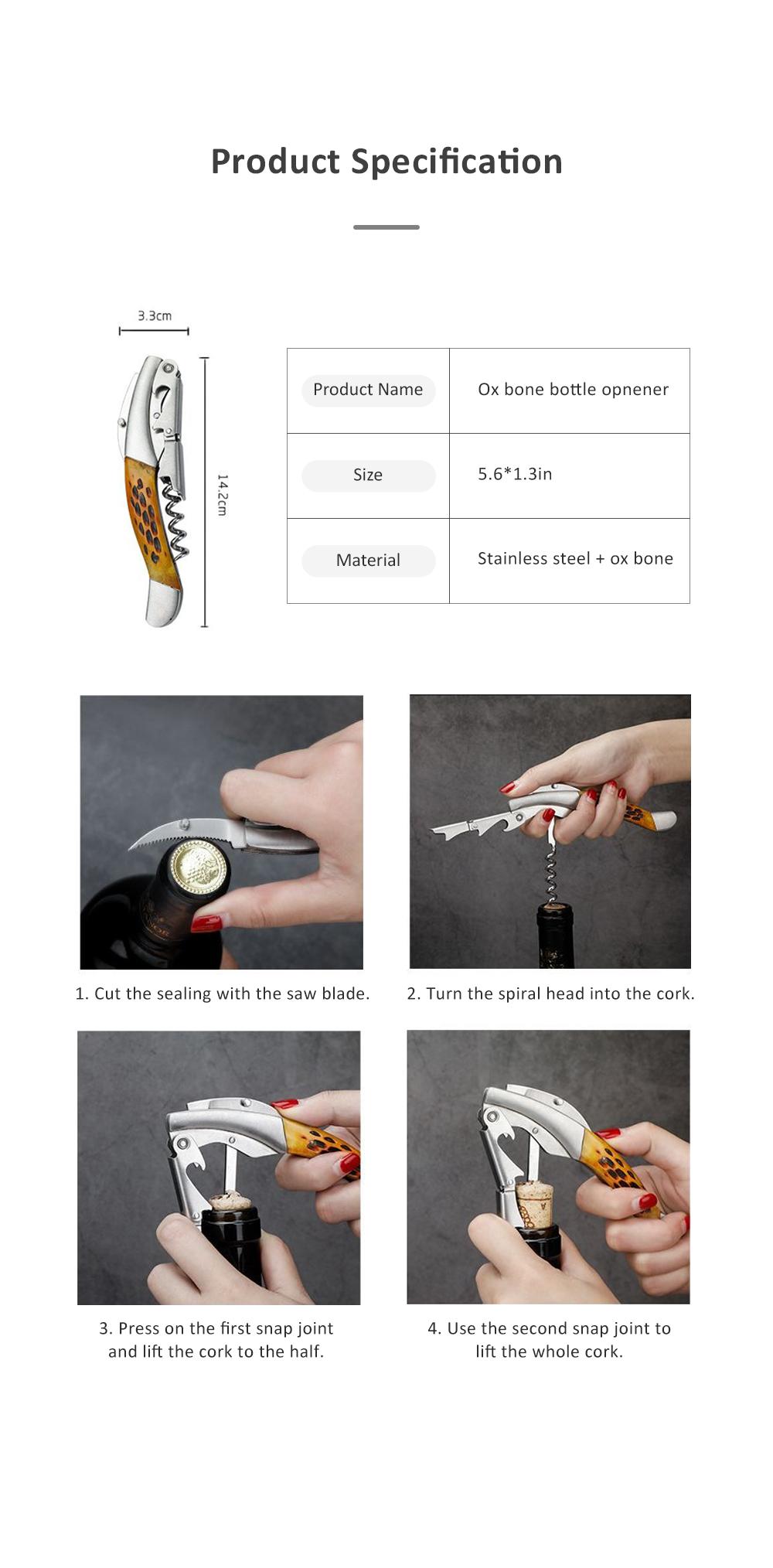 OX Bone Bottle Opener Stainless Steel Thickened Wine Bottle Opener with Little Knife 6