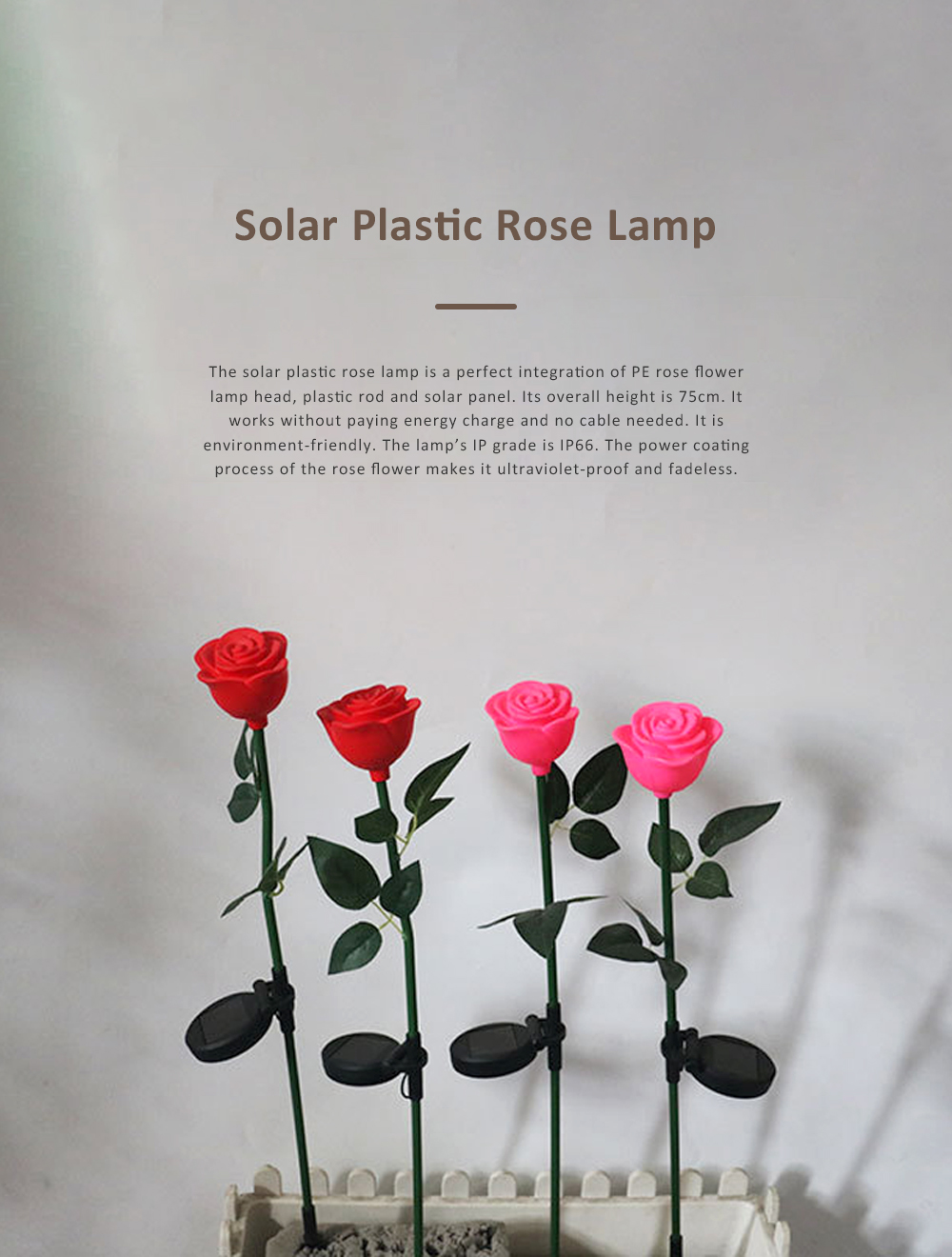 LED Solar Landscape Light for Outdoors Courtyard Gardens Waterproof Plastic Rose Flower Pattern Lamps Solar Rose Pin Lamp 0