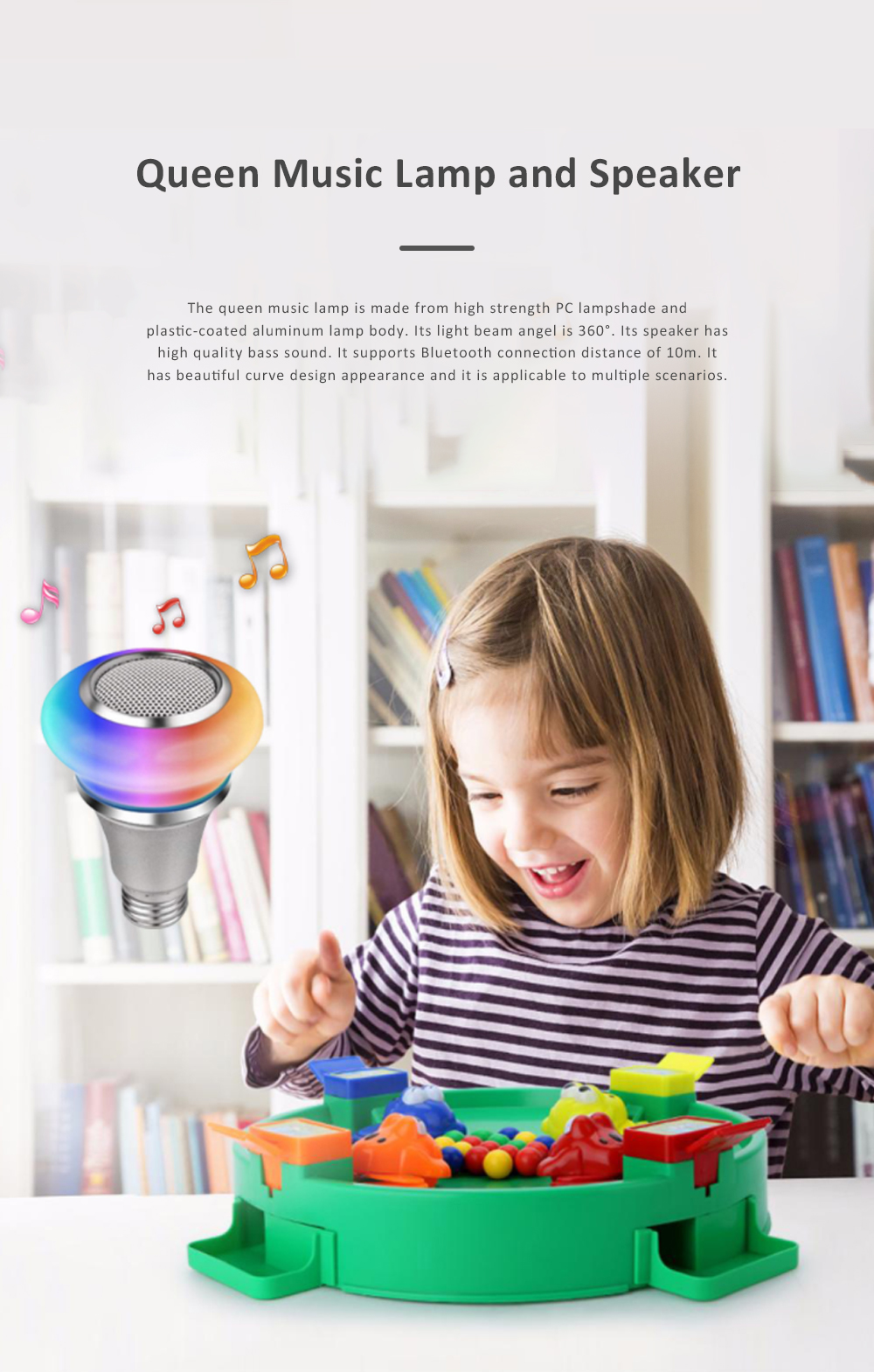 Waterproof Colorful Lighting Toy for Children's Gift Choice High Strength PC Cartoon Smart Bulb and Speaker Bluetooth Music Bulb Light 0
