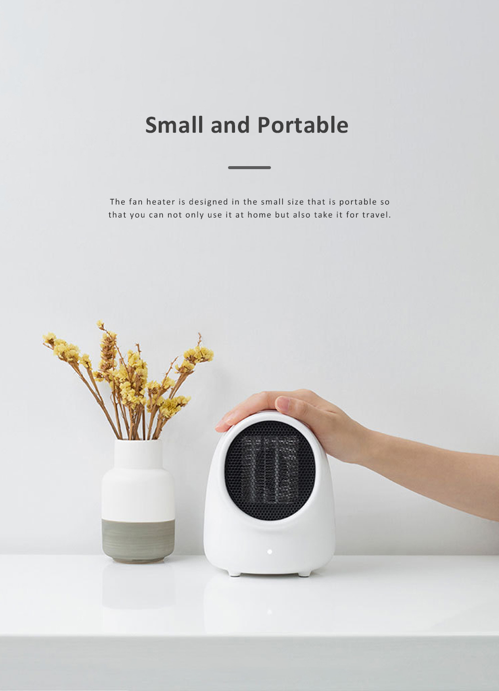 Portable Heater Domestic Small Warm Air Fan Thermostat Self-control Scald-proof Personal Heating Machine 3