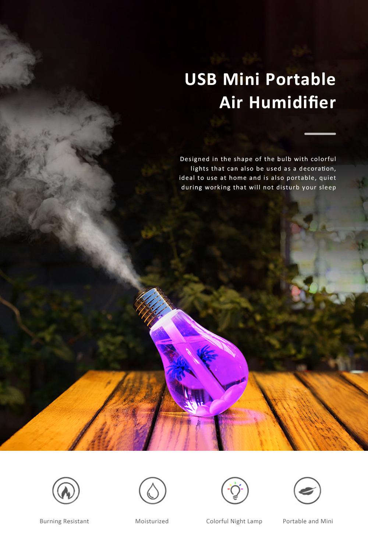 USB Mini Portable Bulb Air Humidifier Purifier Colorful Domestic Desk Decoration Mini Air Purification Atomizer Humidifier 0