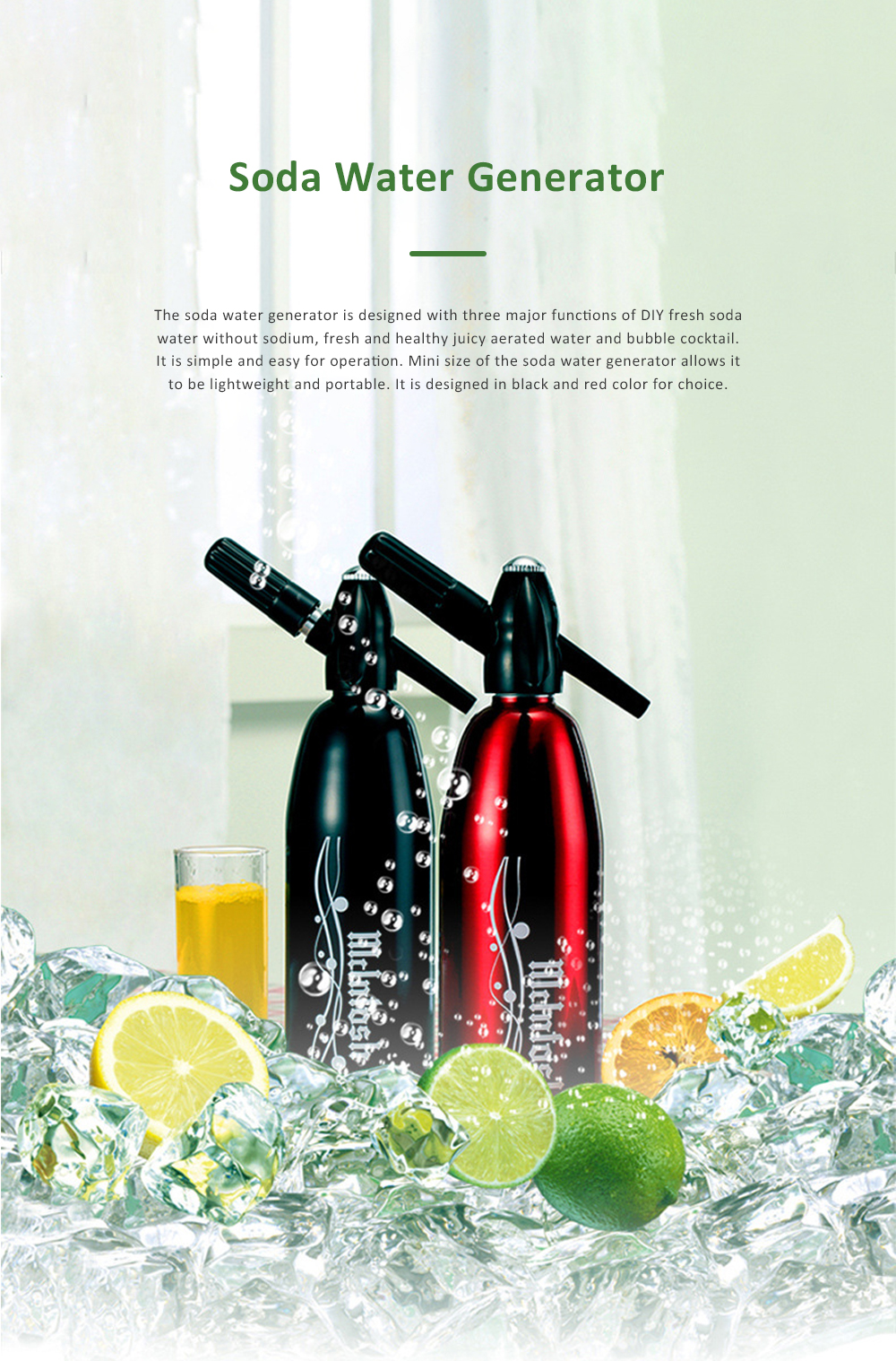 Portable Soda Water Generator DIY Beverage Making Household Aerated Water Machine DIY Cold Drink Producer Juice Maker 0