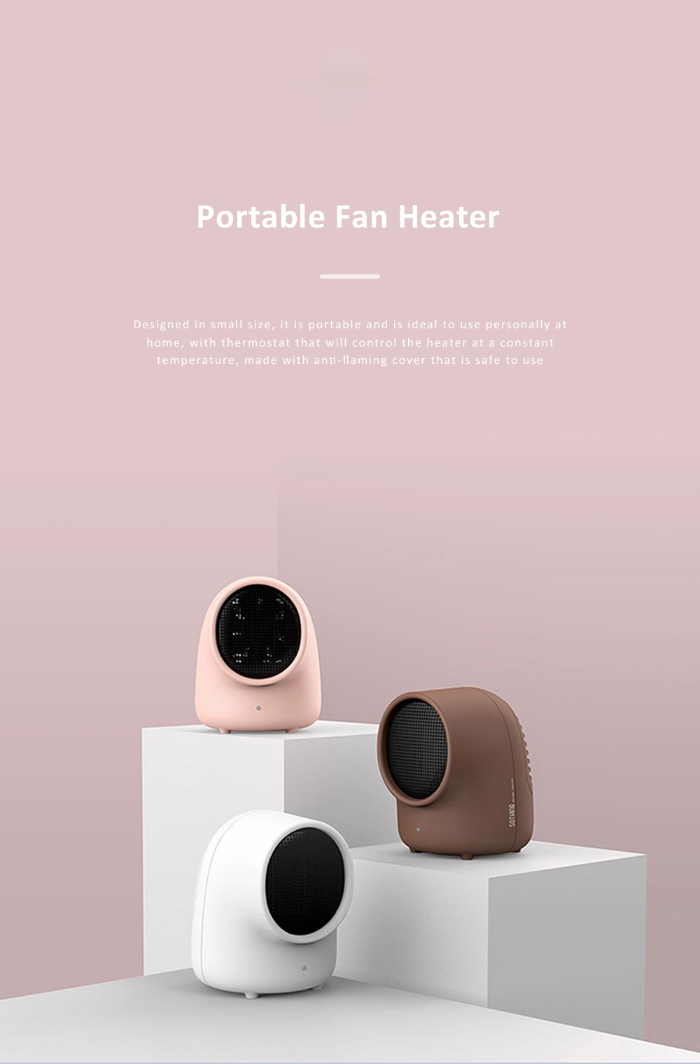 Portable Heater Domestic Small Warm Air Fan Thermostat Self-control Scald-proof Personal Heating Machine 0