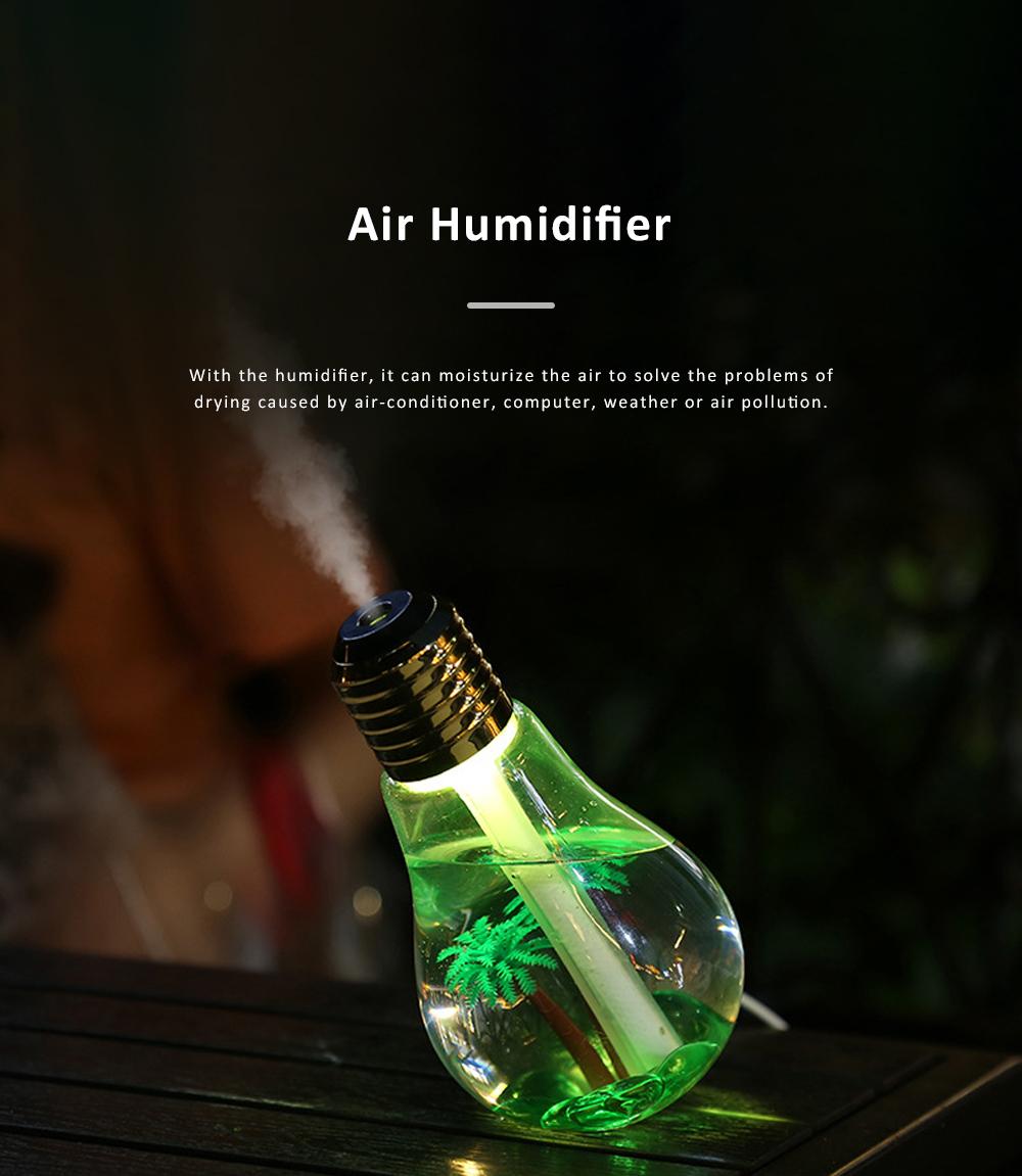 USB Mini Portable Bulb Air Humidifier Purifier Colorful Domestic Desk Decoration Mini Air Purification Atomizer Humidifier 2