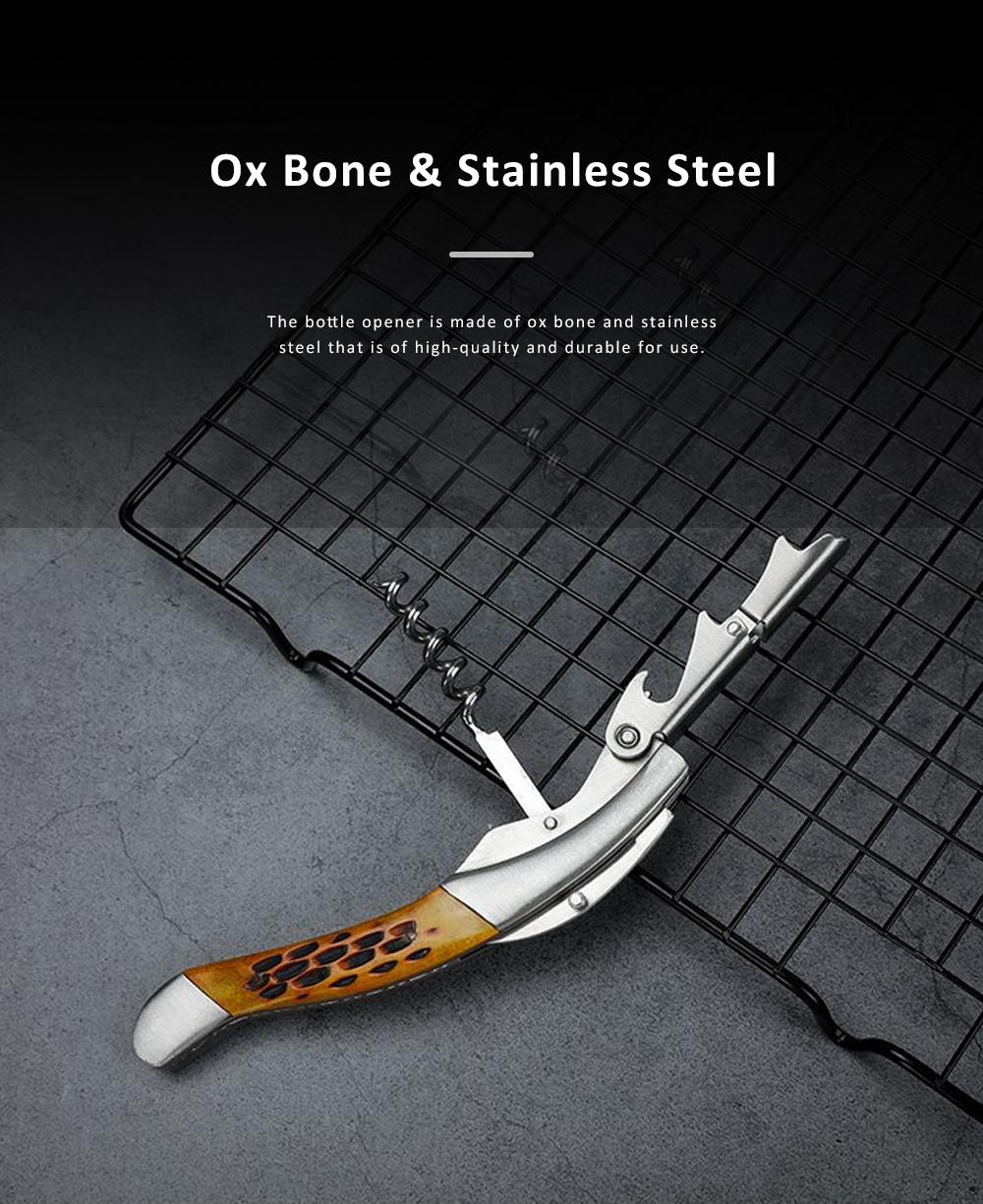OX Bone Bottle Opener Stainless Steel Thickened Wine Bottle Opener with Little Knife 5