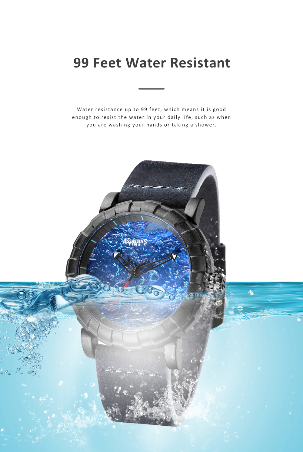 Burning Fire Creative Waterproof Electronic Watch for Men Casual with Quartz Movement and Adjustable Leather Strap 1