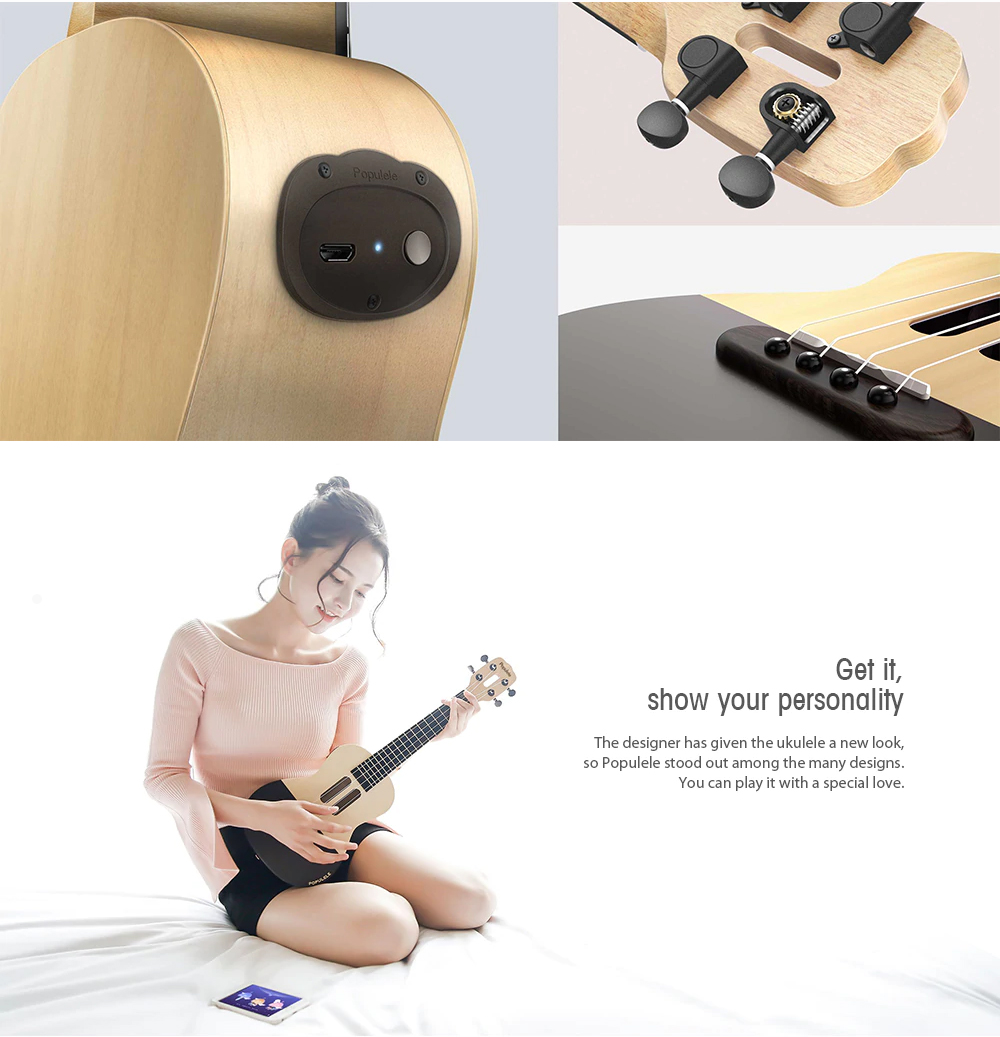 Populele Smart Ukulele for Beginning Learners' User-friendly Intelligent APP Teaching Piano LED Bluetooth Connection Ukulele 5