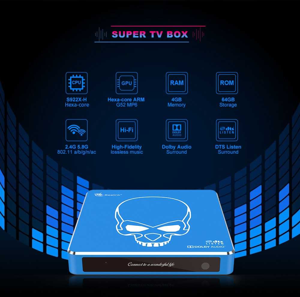 Beelink GT-King Pro Super HD 4K TV Box 2.4G Voice Remote Control Most Powerful S922X Hexa Core HI-FI Android 9.0 Smart Set Top Box 4+64GB 1