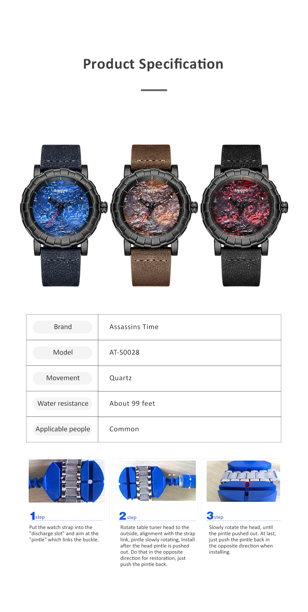 Burning Fire Creative Waterproof Electronic Watch for Men Casual with Quartz Movement and Adjustable Leather Strap 6
