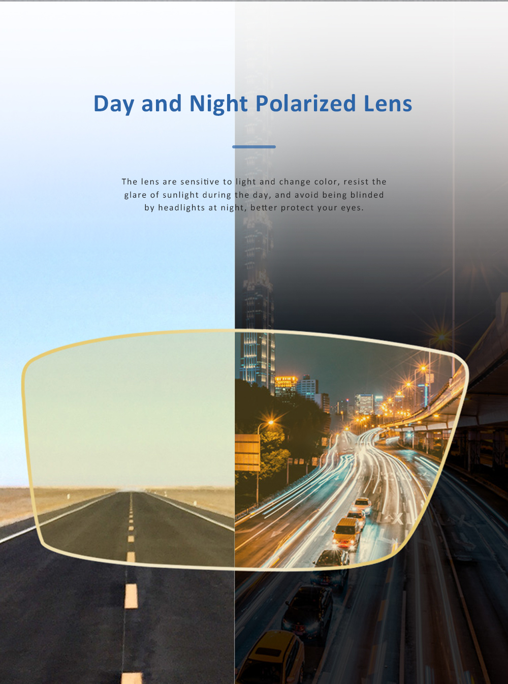 Anti Glare Night Vision Glasses with Yellow Polarized Lens and Anti-UV 400 Sunglasses for Men Night Outdoor Driving 3