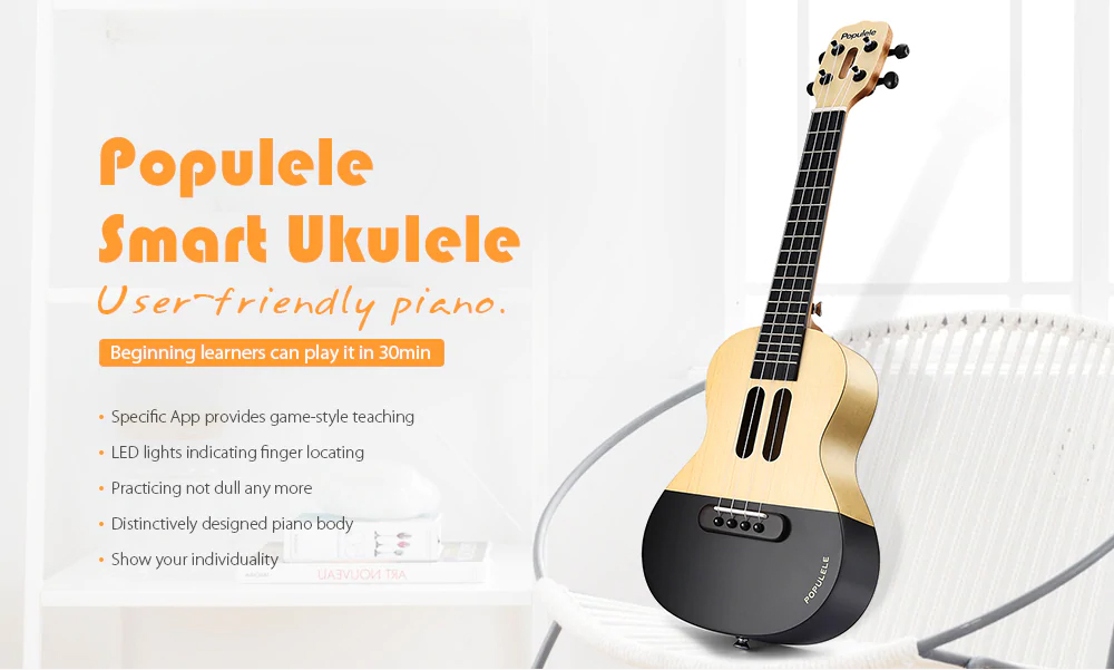 Populele Smart Ukulele for Beginning Learners' User-friendly Intelligent APP Teaching Piano LED Bluetooth Connection Ukulele 0