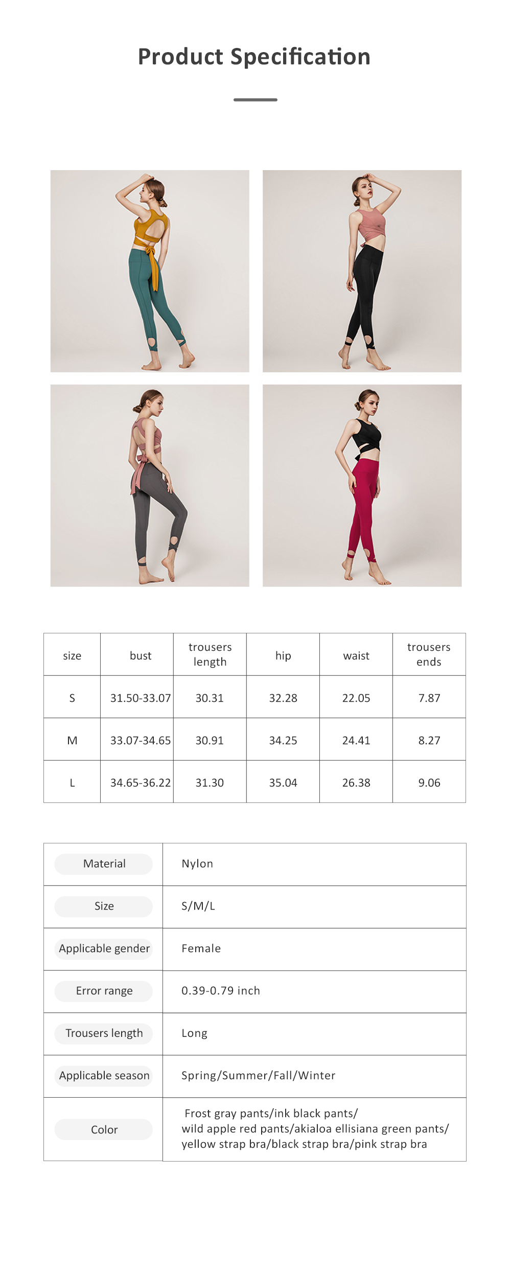 Women's Ultra Soft Yoga Suit With Strap-on Bra and High Waist Tummy Control Workout Leggings 8