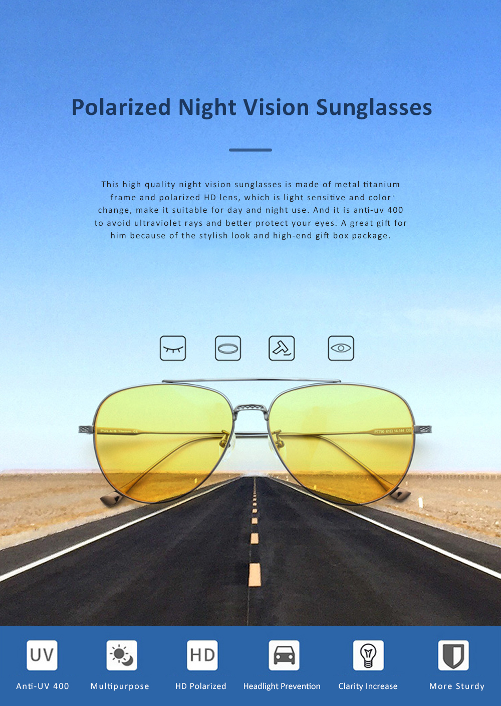 Anti Glare Night Vision Glasses with Yellow Polarized Lens and Anti-UV 400 Sunglasses for Men Night Outdoor Driving 0